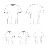 T-shirt polo template set, front and back view. Front and back view of clothing set. Blank wear templates. T-shirt and polo. Casual style. Vector illustration Royalty Free Stock Photo