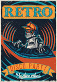 T-shirt or poster design. With illustraion of robot disc jockey Stock Image
