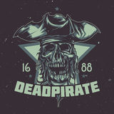 T-shirt or poster design with illustrated dead pirate. Royalty Free Stock Images