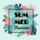 T-shirt or poster design print with palm leaves and exotic flowe Stock Photos