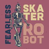 T-shirt or poster design. T-shirt or poster design with illustration of a fearless robot Stock Photography