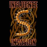 T-shirt or poster illustration. Centipede against the background of swarming insects. Background and text are located on separate layers and can be easily Royalty Free Stock Photography