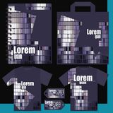 T-shirt, price list, a notepad, a package. Gray purple Royalty Free Stock Photography