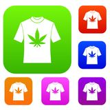 T-shirt with print of cannabis set collection Stock Photography