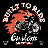 T shirt print 032. Classic chopper motorcycle with fire flame. T-shirt print graphics. Built to ride. Custom motors. Grunge texture on a separate layer Royalty Free Stock Photography