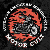 T shirt print 029. Classic chopper motorcycle with fire flame. T-shirt print graphics. Superior american motorcycles. Motor cult. Grunge texture on a separate Stock Photo