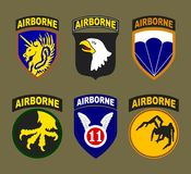 T-shirt print design. Airborne and air force patches typography or vintage stamp. Vector illustration Stock Images