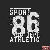 T-shirt print design. 86 athletic department vintage stamp. Printing and badge, applique, label, t shirts, jeans, casual and urban wear. Vector illustration Royalty Free Stock Photo
