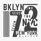 T-shirt print design. Bklyn 72 New York City vintage stamp. Printing and badge, applique, label, t shirts, jeans, casual and urban wear. Vector illustration Vector Illustration
