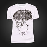 T-shirt print design with hand-drawn mehendi elephant head.  Ethnic african, indian, totem tatoo design. Stock Photography
