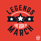 T-shirt print design. Legends are born in March vintage t shirt stamp. Badge applique, label t-shirts, jeans, casual wear. Vector illustration Royalty Free Stock Photography
