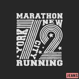 T-shirt print design. 72 New York Marathon vintage stamp. Printing and badge, applique, label, t shirts, jeans, casual and urban wear. Vector illustration Royalty Free Illustration