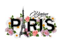 T-shirt print design with slogan Hello Paris, Eiffel tower, frame and pink roses. vector illustration
