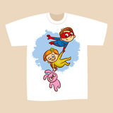 T-shirt Print Design Superhero Flying Boy Rescuer Royalty Free Stock Images