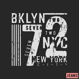 T-shirt print design. 72 Brooklyn NYC vintage stamp. Printing and badge, applique, label, t shirts, jeans, casual and urban wear. Vector illustration Royalty Free Illustration