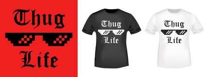 T-shirt print design. Thug Life vintage stamp and t shirt mockup. Printing and badge applique label t-shirts, jeans, casual wear. Vector illustration Stock Photos
