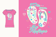 T-shirt print. Graphic design. Artwork. Flips Flops. Royalty Free Stock Images