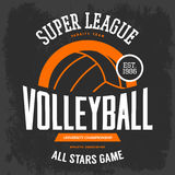 T-shirt print with volleyball ball for sport team. Volleyball ball for sportswear gear. Hand sport advertising or clothing branding, university or college royalty free illustration