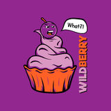 T-shirt print. Wild berry on the cake. Stock Images