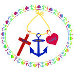 T-shirt Printing design, Cross, Anchor and Heart, symbols of Faith, Hope and Love. Stock Photos