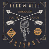 T-shirt Printing design, typography graphics, Free and wild the native lands vector illustration with dreamcatcher crossed arrows Stock Photo