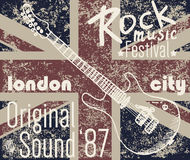 T-shirt Printing design, typography graphics, London Rock festival vector illustration with  grunge flag and hand drawn sketch gu. Itar Badge Applique Label Royalty Free Stock Photo