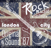 T-shirt Printing design, typography graphics, London Rock festival vector illustration with  grunge flag and hand drawn sketch gu. Itar Badge Applique Label Stock Images