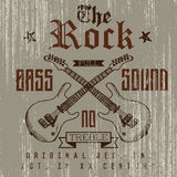 T-shirt Printing design, typography graphics, The Rock full bass sound vector illustration with  grunge crossed guitars hand drawn Royalty Free Stock Photo