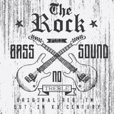 T-shirt Printing design, typography graphics, The Rock full bass sound vector illustration with  grunge crossed guitars hand drawn Stock Photography