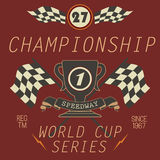 T-shirt Printing design, typography graphics, Speedway championship word cup series vector illustration Badge Applique Label Stock Image