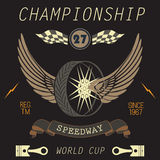 T-shirt Printing design, typography graphics, Speedway championship word cup series vector illustration Badge Applique Label stock illustration