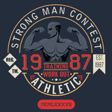 T-shirt Printing design, typography graphics, strong man contest Royalty Free Stock Images