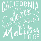 T-shirt Printing design, typography graphics Summer vector illustration Badge Applique Label California Malibu beach surf riders L Royalty Free Stock Photos
