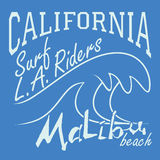 T-shirt Printing design, typography graphics Summer vector illustration Badge Applique Label California Malibu beach surf riders L Stock Photos