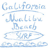T-shirt Printing design, typography graphics Summer vector illustration Badge Applique Label California Malibu beach surf sign Stock Images