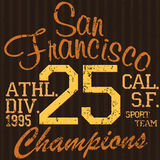 T-shirt Printing design, typography graphics Summer vector illustration Badge Applique Label San Francisco sport sign Stock Image