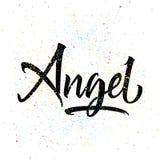 T-shirt printing logo template. Angel. Hand drawn calligraphy Stock Photos