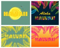 T-shirt prints with Hawaii lettering and palm leaves. T-shirt prints with Hawaii lettering, colorful palm leaves and sun Stock Photography