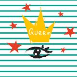 T shirt queen crown and eye striped print design. Stock Photo