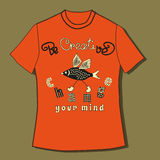 T-shirt with quote. Inspirational Motivated Quote Be Creative Change Your Mind. Typography Concept in cute cartoon style. Template identity element for print on Royalty Free Stock Photography