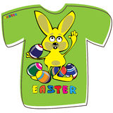 T-shirt with rabbit on white. Background Stock Photography
