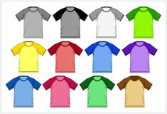 T Shirt Raglan Colorful 02, Vector Royalty Free Stock Photography