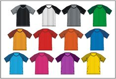 T Shirt Raglan Colorful 06, Vector Stock Images