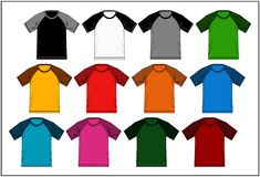 T Shirt Raglan Template Colorful, Vector Image Stock Photos