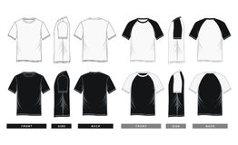 T-shirt short sleeve and raglan sleeve Black White  Stock Photo