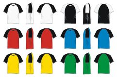 T-shirt short sleeve raglan colorful blank. T-shirt short sleeve raglan colorful blank, front, side, back, vector images Stock Photo