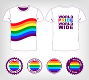 T-shirt with rainbow flag. Gay and lesbian couples, rainbow vector icons set Royalty Free Stock Photo