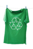 T-shirt with the recycle symbol. Hanging on clothesline Royalty Free Stock Image