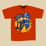 T-shirt Red Print Design Superheroes Boy and Girl Stock Photography