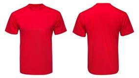 T-shirt rouge, vêtements sur d'isolement Photographie stock libre de droits
